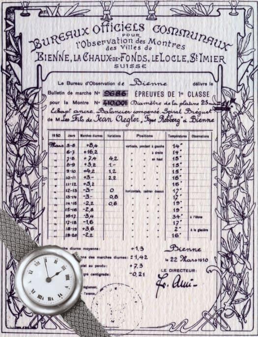 Das original Rolex - Aegler - Chronometerzertifikat der Uhren-Kontrollstelle Biel aus dem Jahr 1910