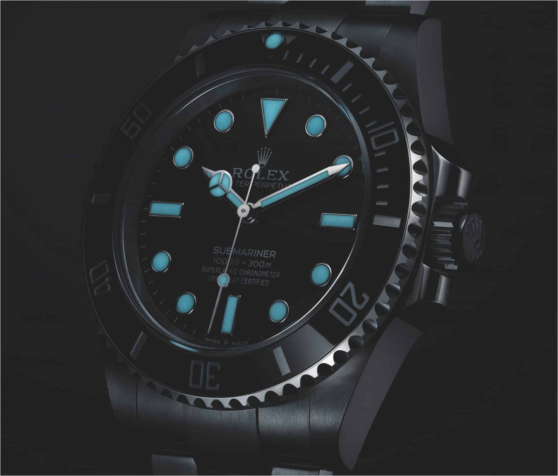 Leuchtzifferblatt der Rolex Oyster Perpetual Submariner Referenz 124060