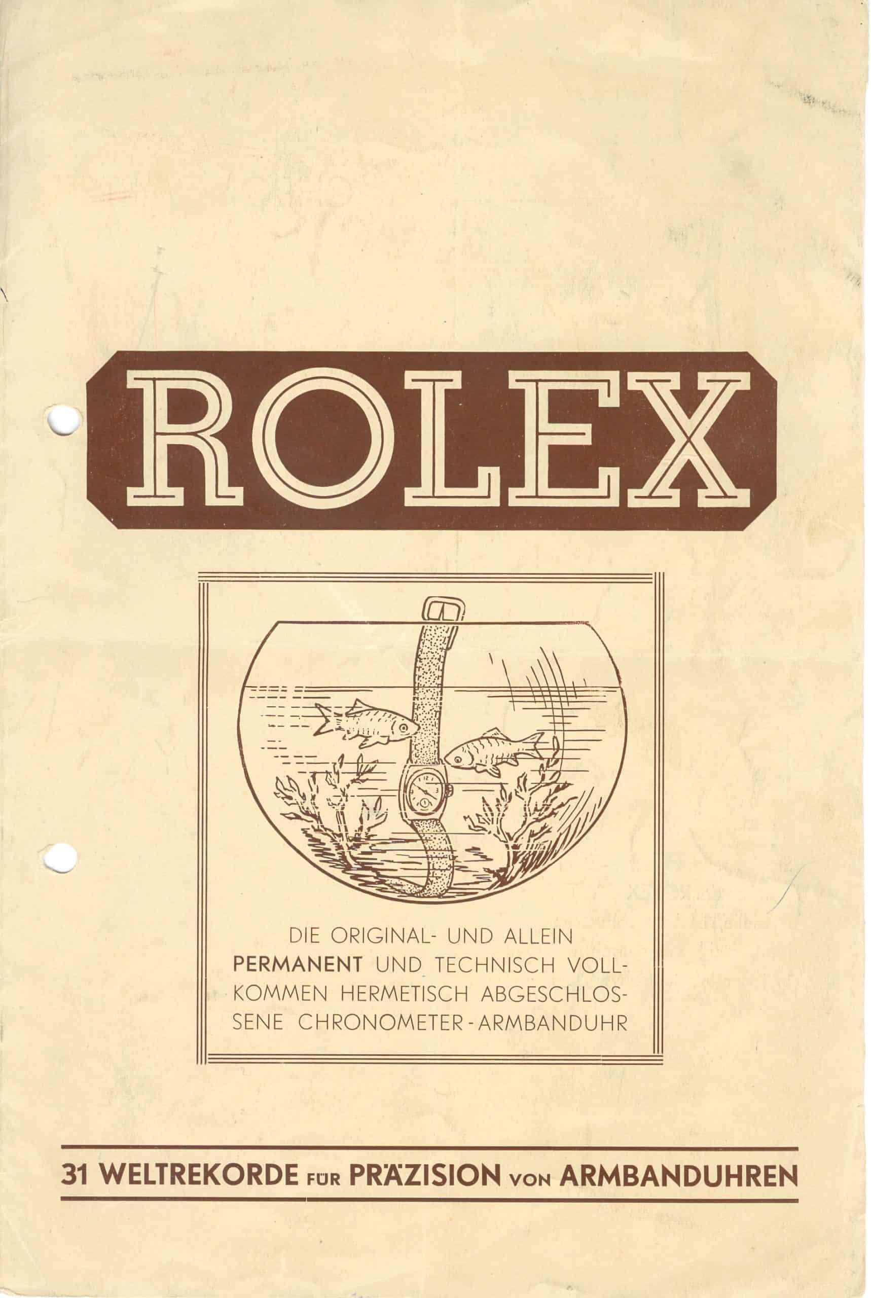 Rolex Oyster Prospekt von ca. 1928 - 1