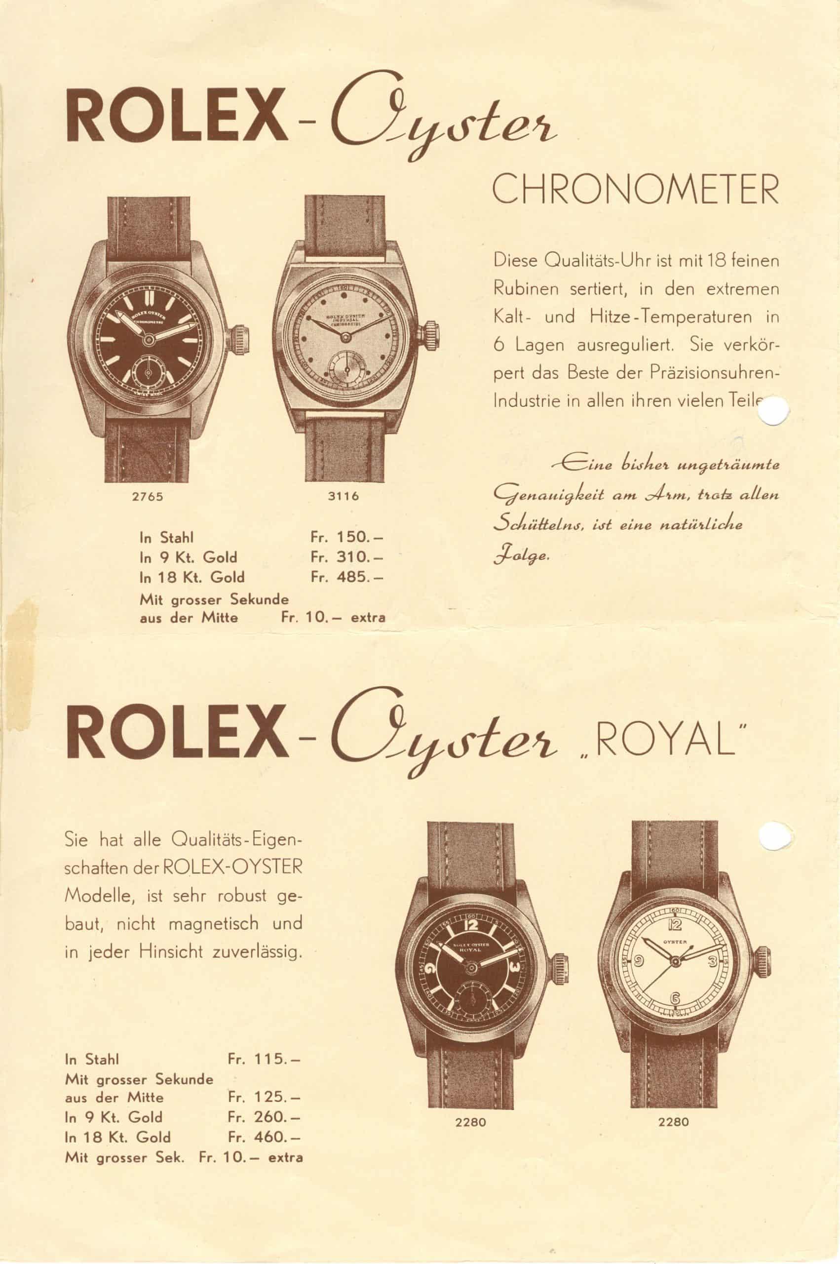 Wasserdichte Rolex Oyster im Prospekt von ca. 1928