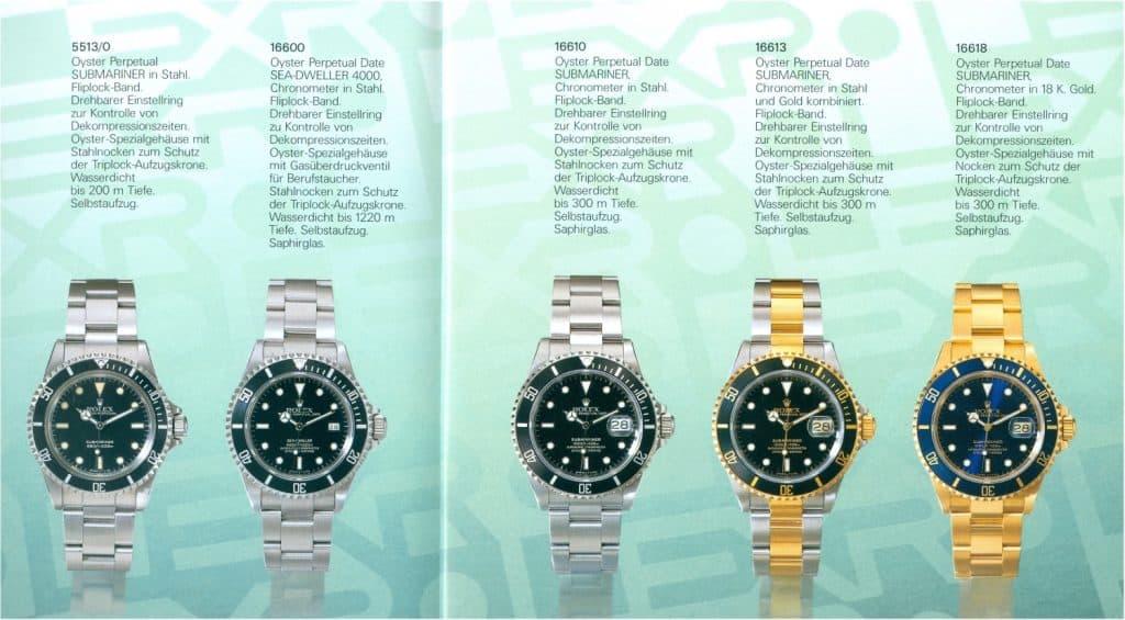 Rolex Submariner 5513 16600 16610 16613 16618 aus Prospekt 1990 Preise 2000 4100 3750 6950 25000 DM