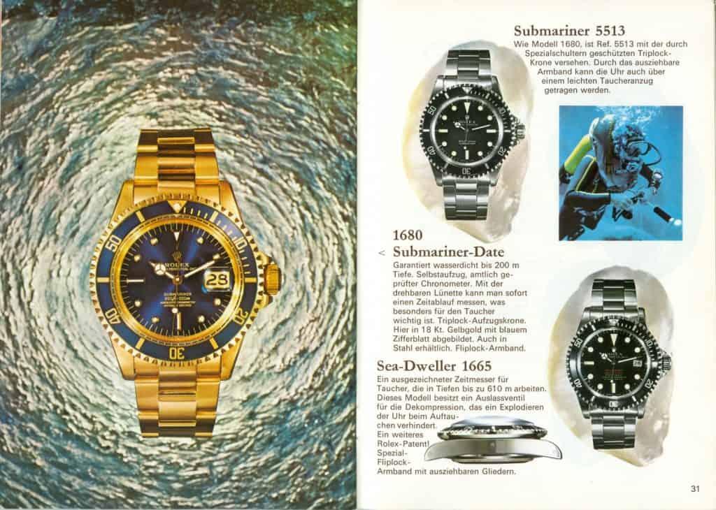 Rolex Submariner 5513, 1680, 1665 aus Prospekt  des Jahres 1975. Preise 765. 8320 und 1150 DM
