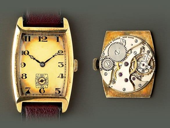 Tonneauförmige Armbanduhr von A. Lange & Söhne gegen 1940 mit Schweizer Handaufzugswerk von Altus