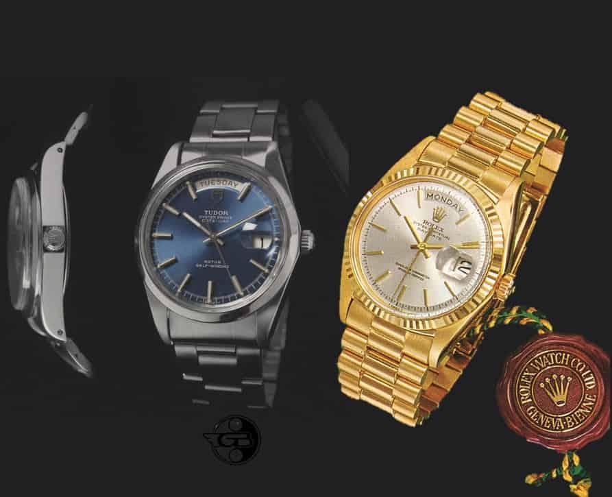Historische Tudor Oyster Prince Day-Date von 1969 und Rolex Day-Date von 1956