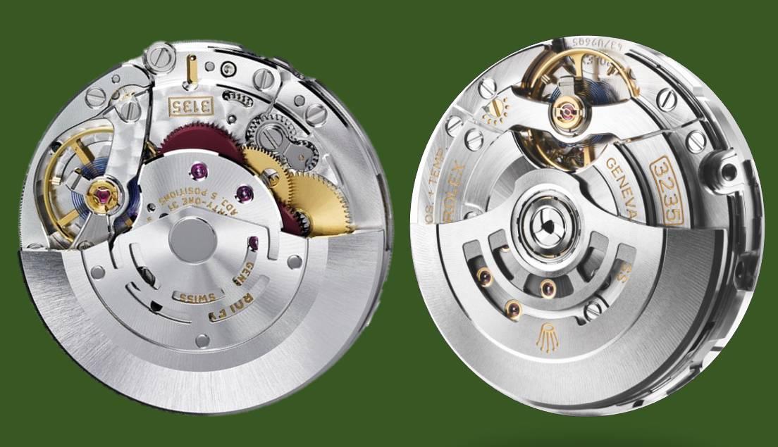 Rolex Automatikkaliber 3135 und 3235 mit Datum. Die Versionen 3130 und 3230 unterschieden sich nur durch die fehlende Datumsanzeige auf der Vorderseite
