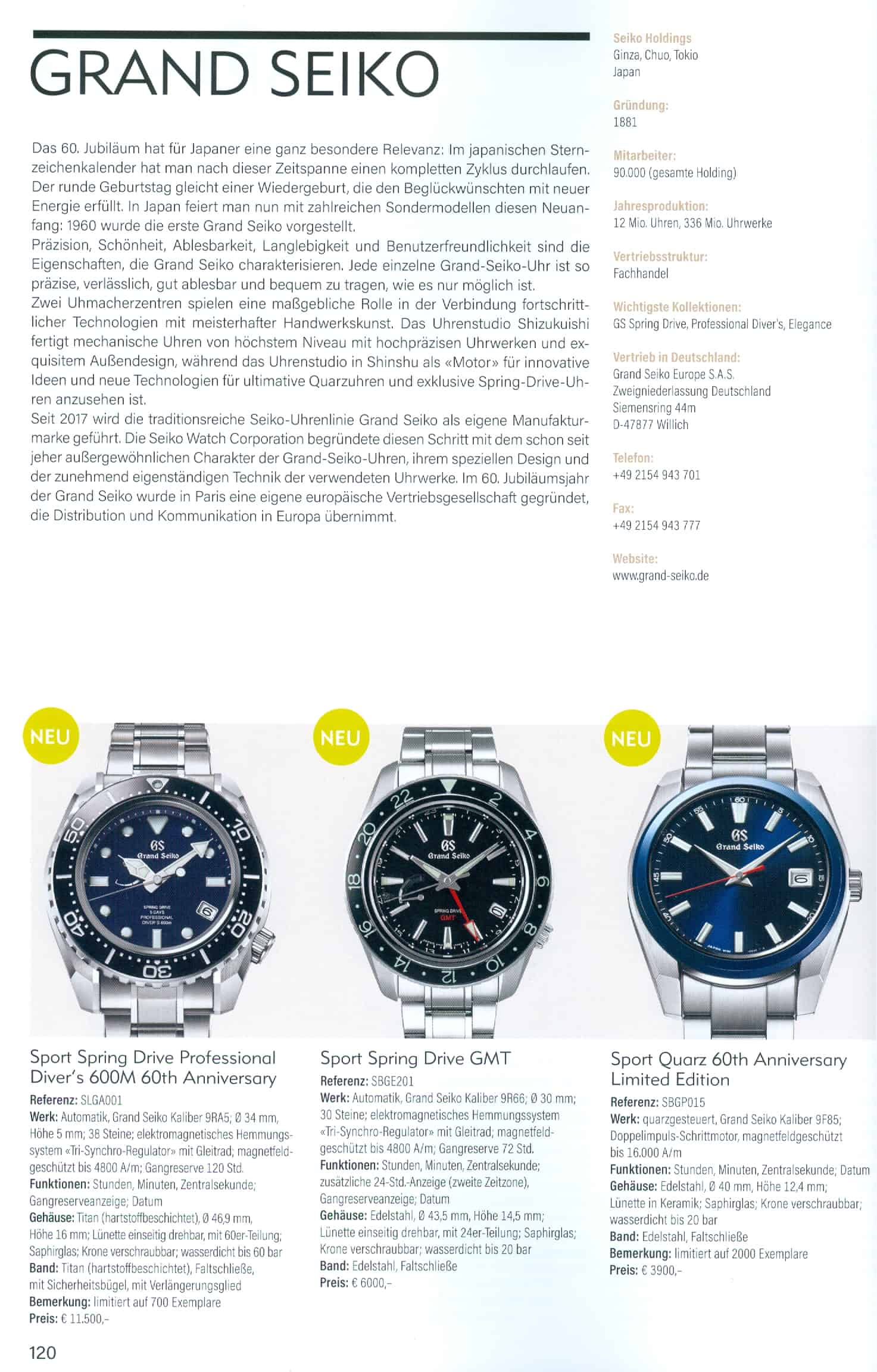 Armbanduhren Katalog Heel Verlag 2020 2021 Grand Seiko