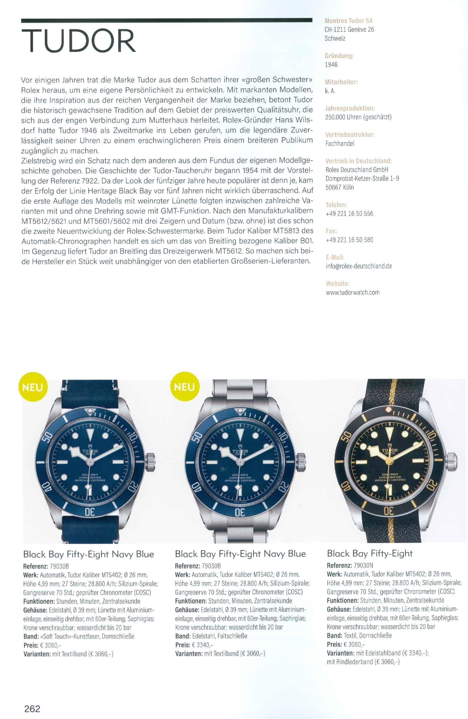 Armbanduhren Katalog Heel Verlag 2020 2021 Tudor