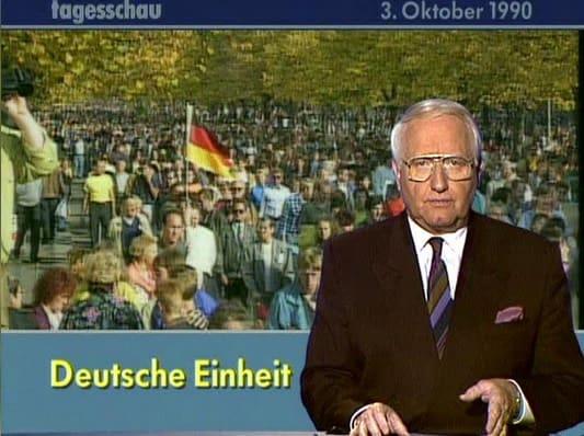 Das Tagesschau Standbild zur Deutschen Einheit vom 3. Oktober 1990