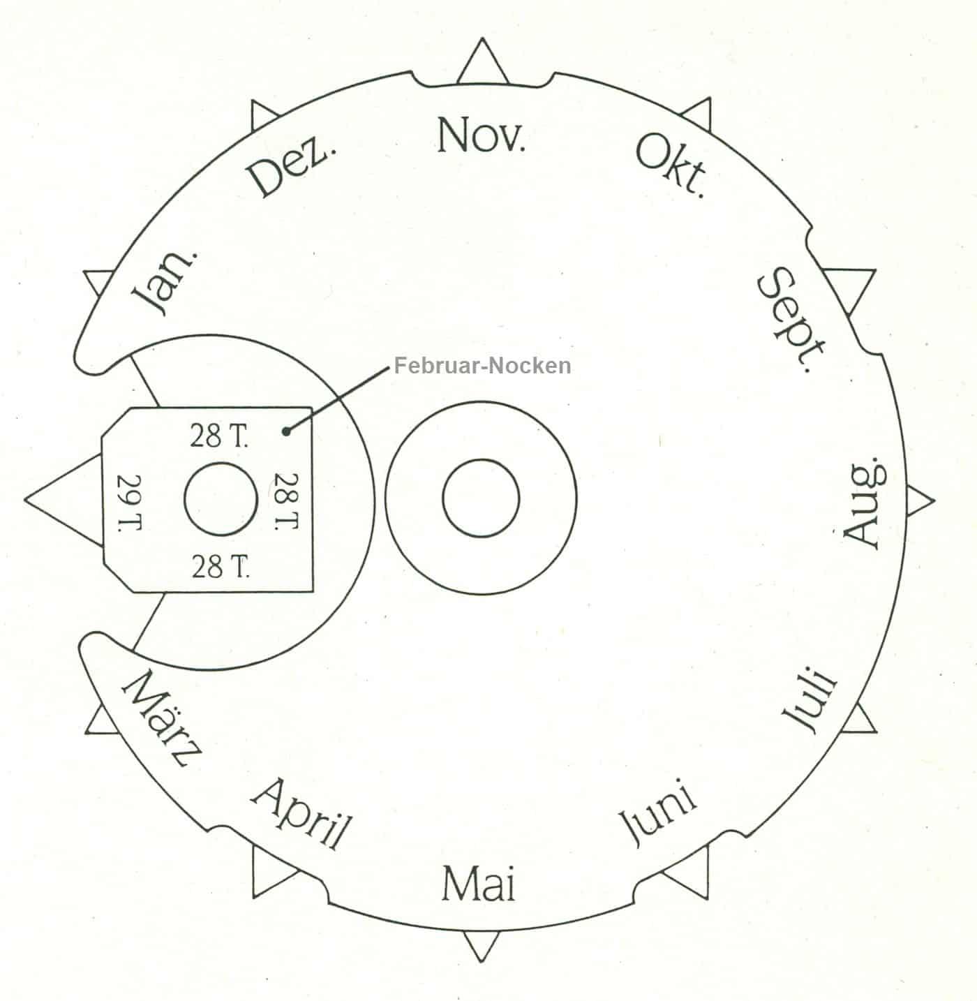 Die Monatsnockendes des ewigen Kalendariums haben unterschiedlich lange Nocken