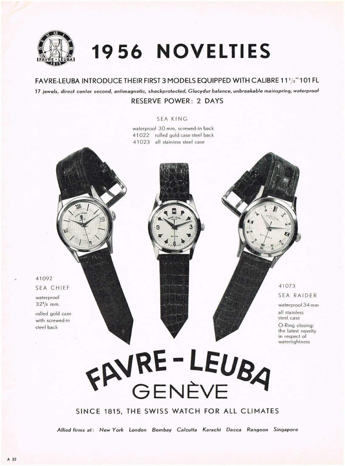 Favre-Leuba Anzeige 1956 für neue Modelle