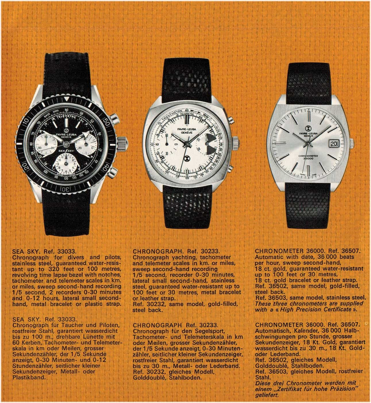 Sea Sky, Chronograph, Chronometer von 1968