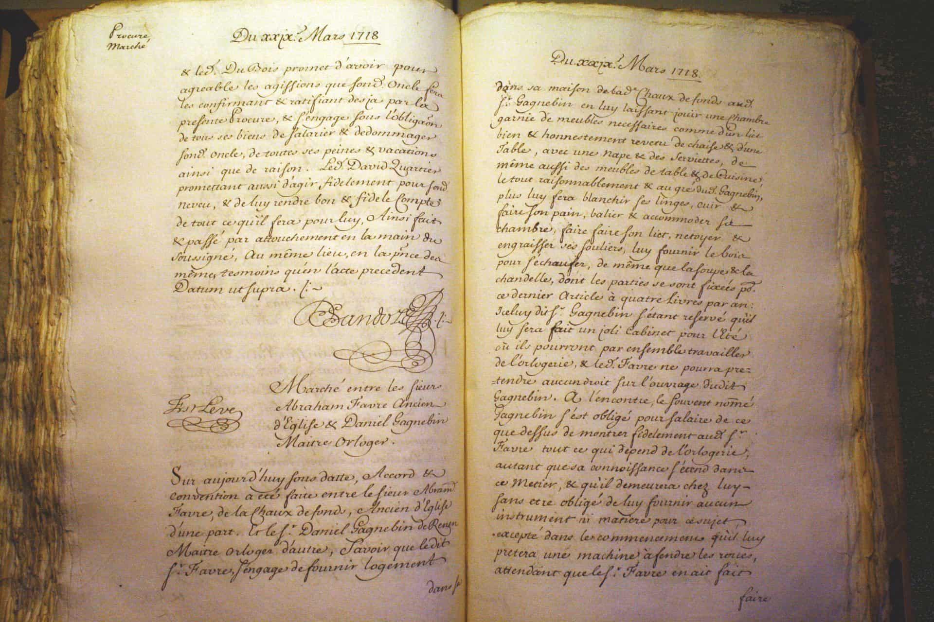 Gründung von Favre-Leuba auf der Notarurkunde vom 29.03.1718
