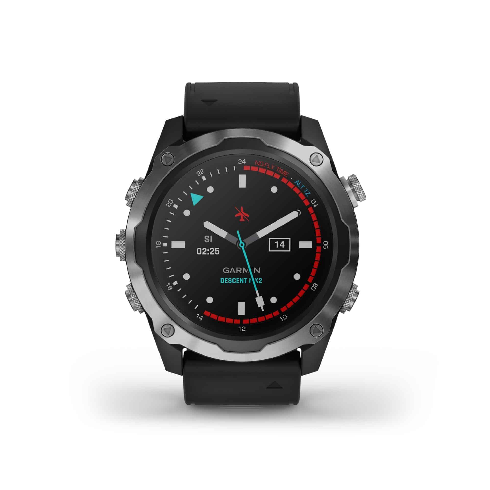 Der Uhrmodus der Garmin Descent Mk2