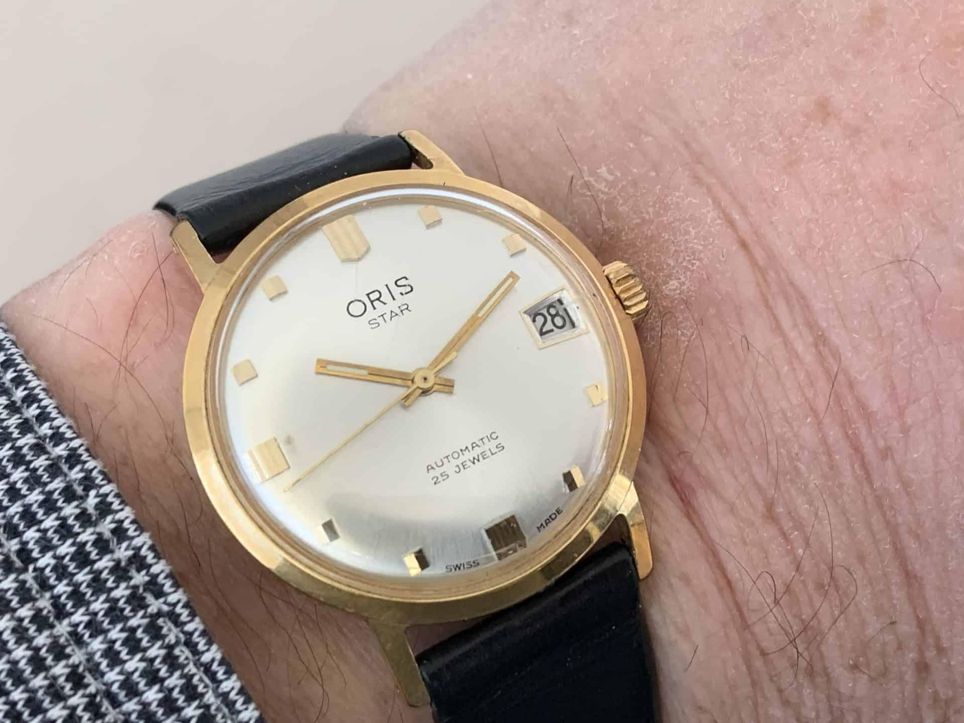 Die Armbanduhr Oris Star Automatik von ca. 1970 mit dem Kaliber 645