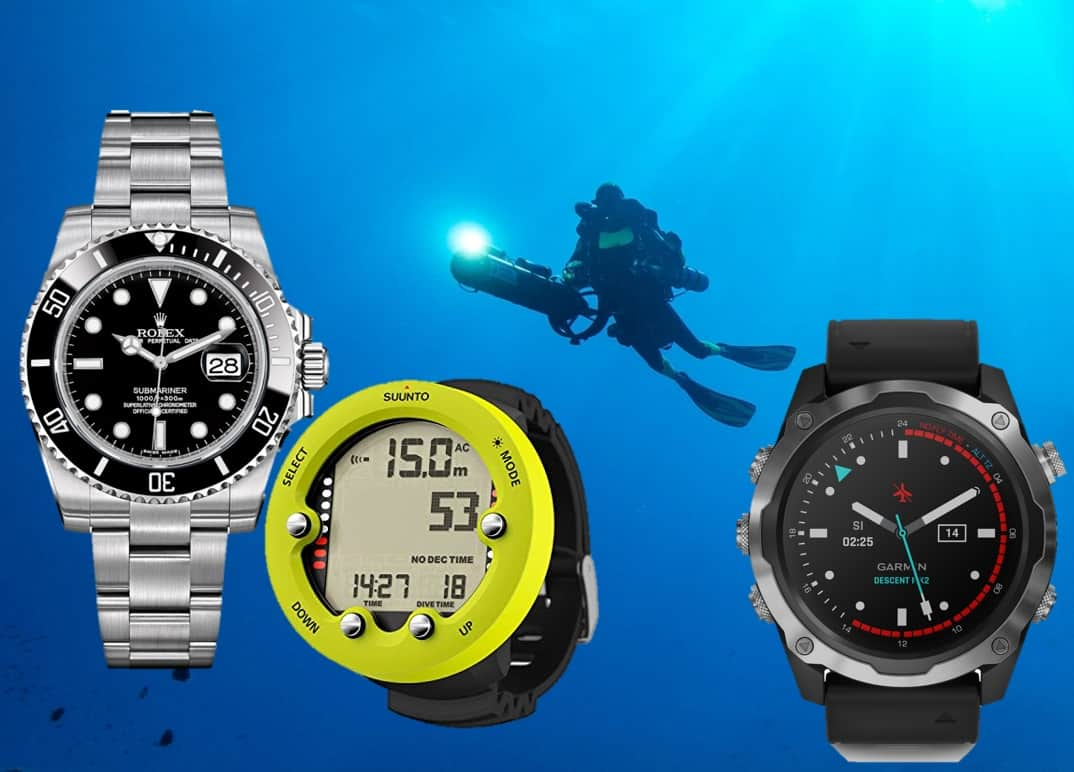 Rolex Submariner Date, Suunto Tauchcomputer und Garmin Descent Mk2