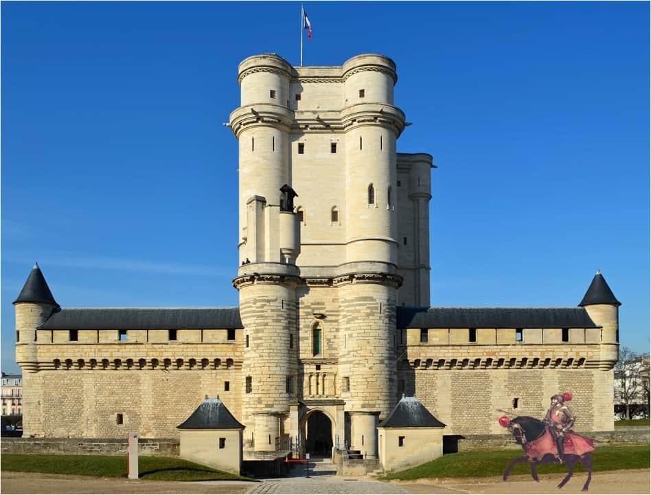 Kaiser Karl V. vor seinem Schloss Vincennes mit der von ihm geschätzten Schlaguhr
