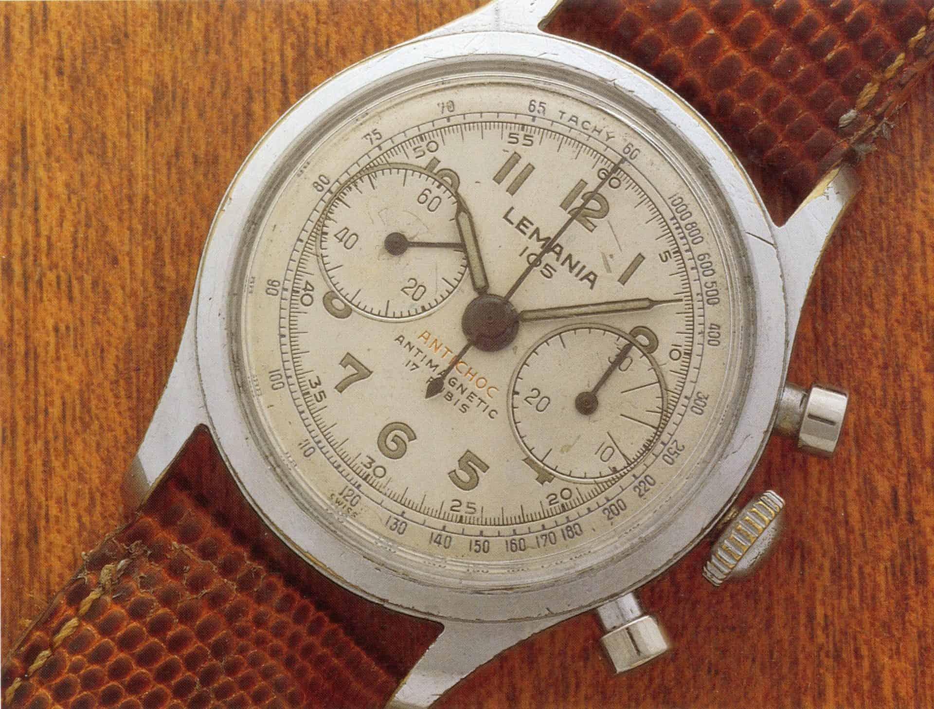 Lemania 105 Chronograph ca 1950 verchromtes Messing