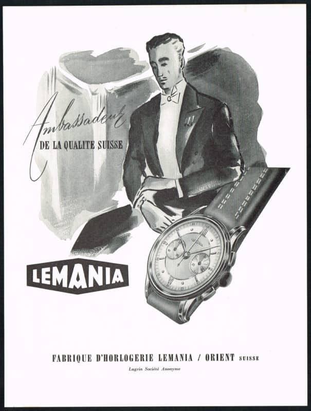 Lemania Chronograph Anzeige aus den 50er Jahren