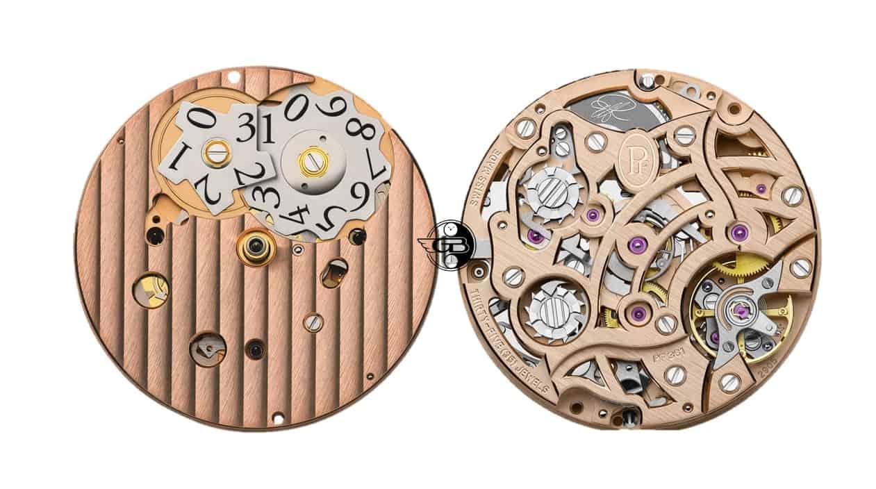 Das durchbrochen konstruierte Parmigiani Chronographenkaliber PF361 besitzt Großdatum und Rattrapante und hat hierfür zwei Schalträder