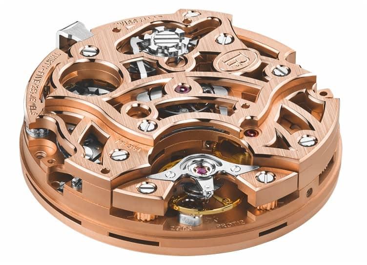 Beim Kaliber PF361 und dem davon abgeleiteten PF071 vollzieht die Unruh mit variabler Trägheit unter einer höhenverstellbaren Goldbrücke stündlich 36.000 Halbschwingungen