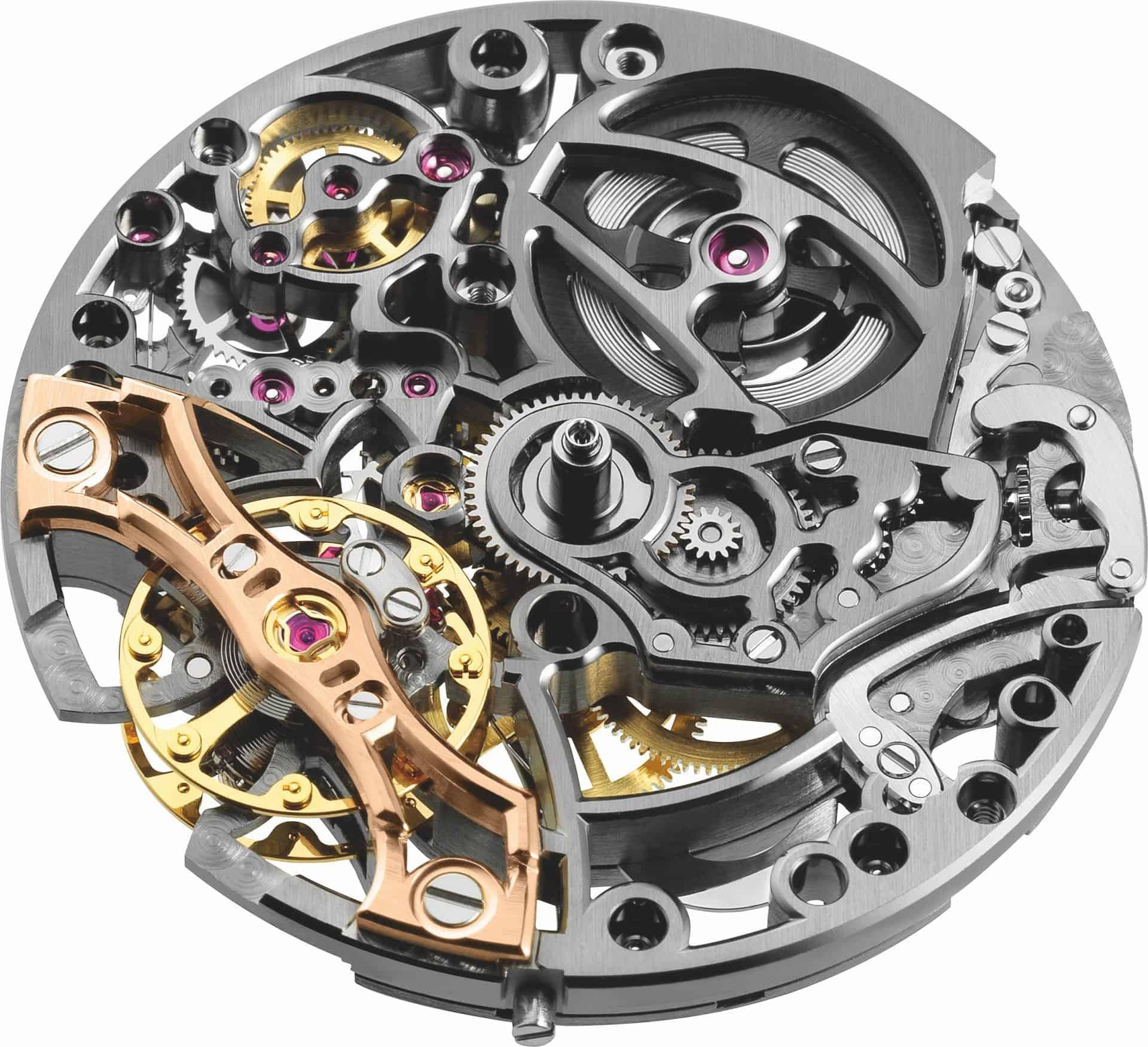 skelettiertes Uhrwerk der Zifferblattseite des Kalibers 3132