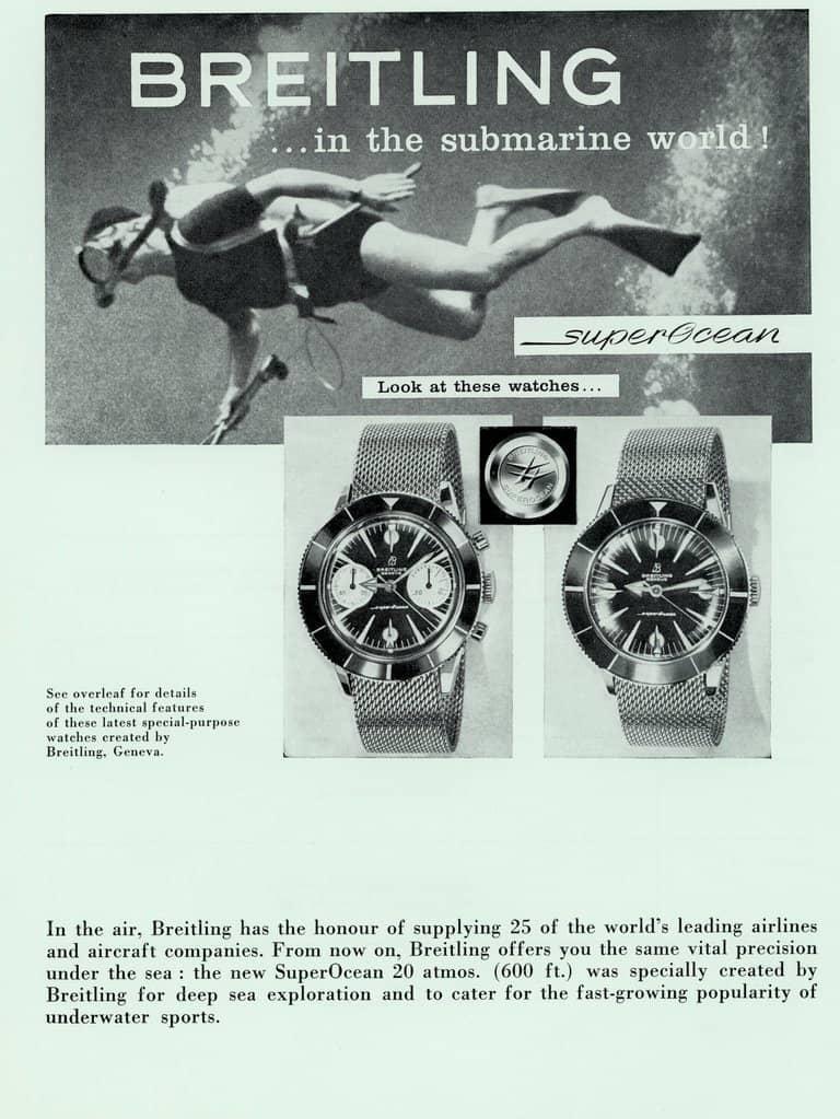 Alte Werbung für die Breitling Superocean Modelle