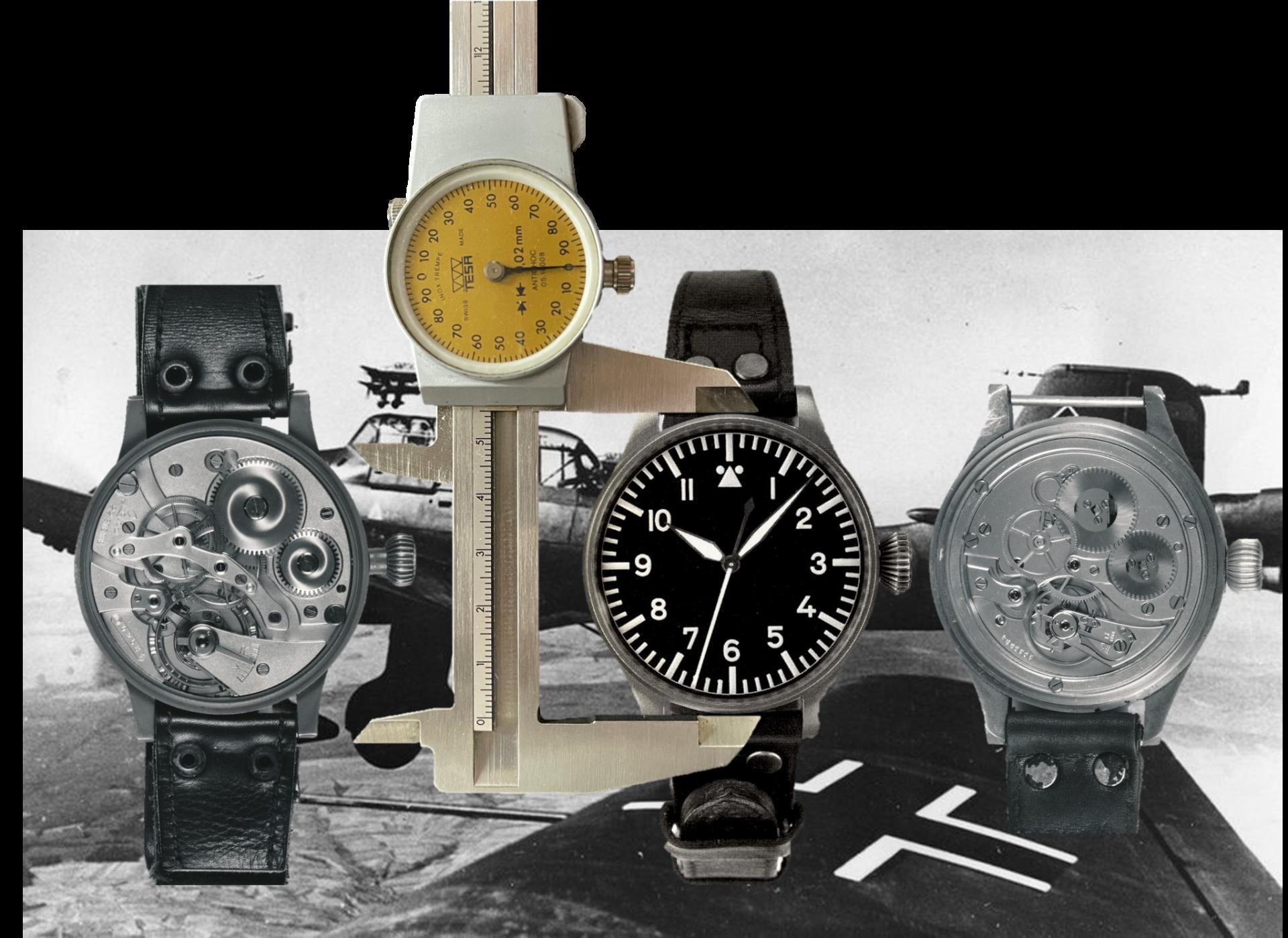 Flieger-Armbanduhren der Deutsche Luftwaffe von 1940 mit dem Kaliber Laco Durowe 22 Linien und IWC Kaliber 52 SC