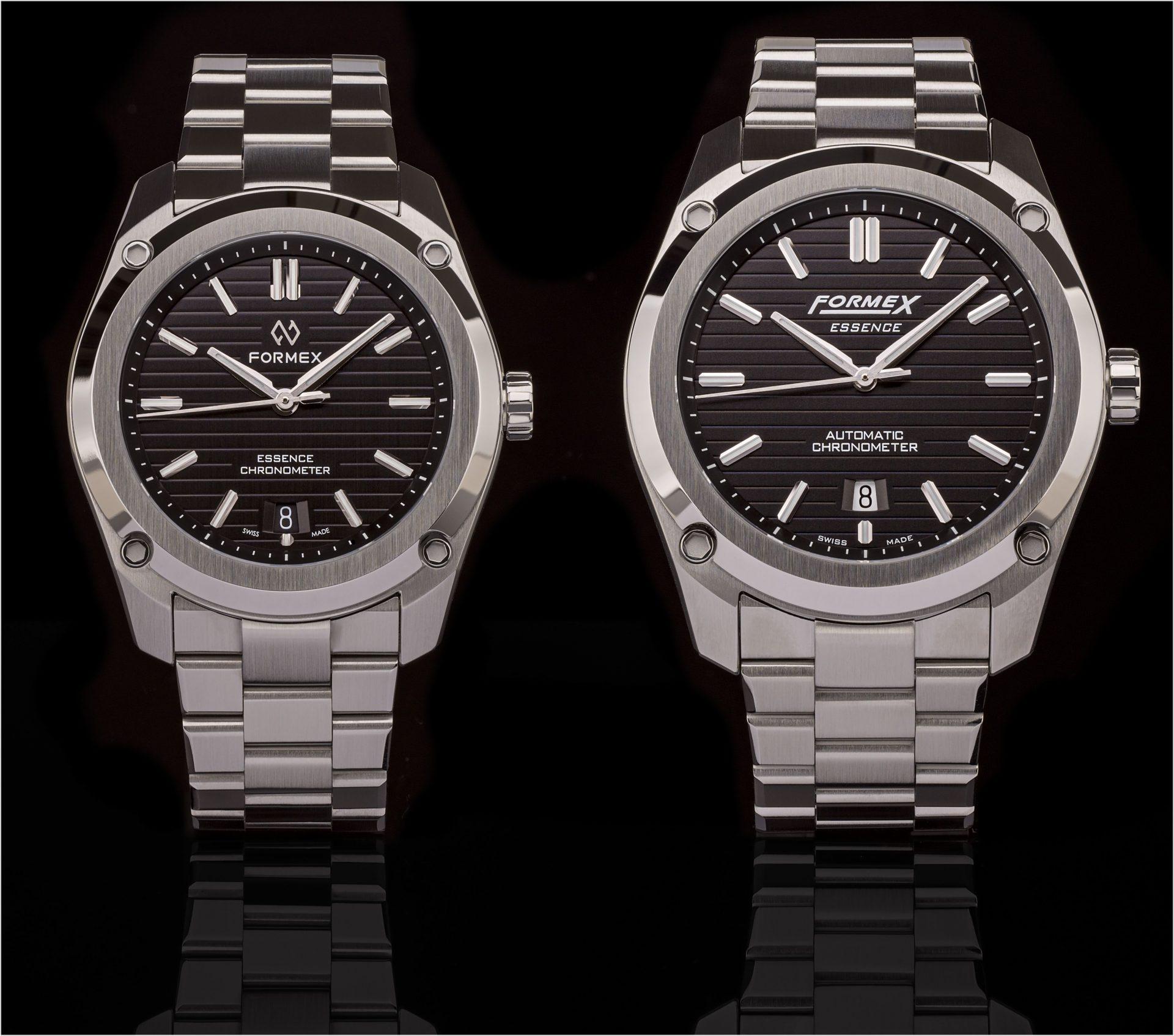 Formex Essence mit 43 (rechts) und 39 Millimetern Durchmesser. In beiden Uhren tickt das Eta-2828-basierte Automatikkaliber Sellita SW-200.
