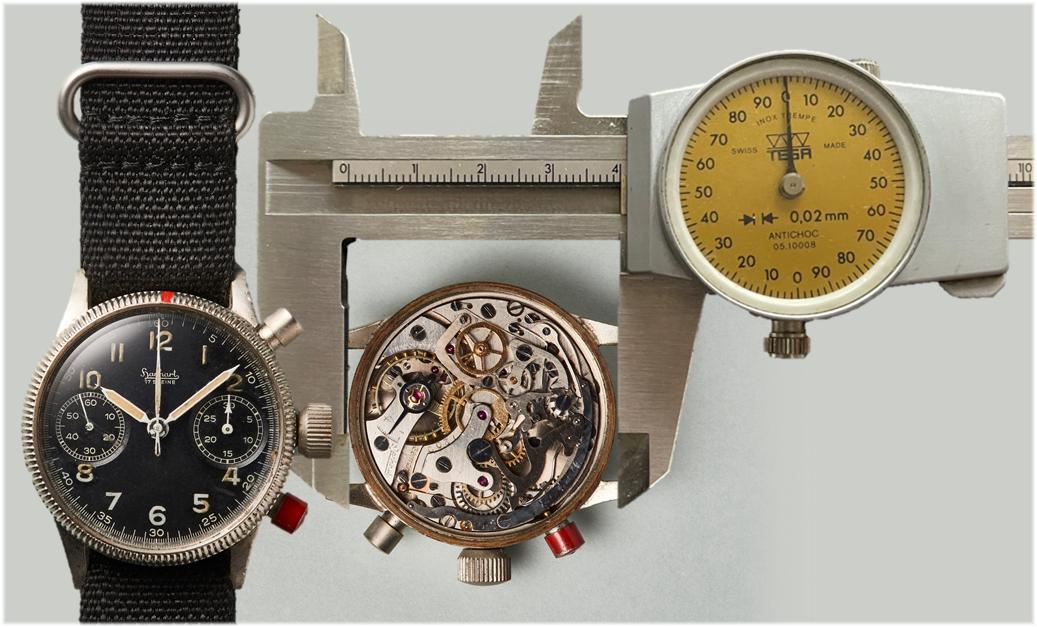 Der Hanhart Piloten-Chronograph mit einem Durchmesser von 40 Millimeter von 1942. Kaliber 41 Durchmesser 35 Millimeter