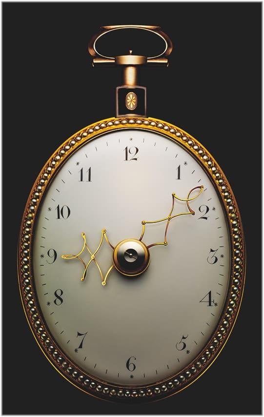 Von Michel Parmigiani 1997 restaurierte ovale Taschenuhr mit Zeigern, die ihre Länge verändern