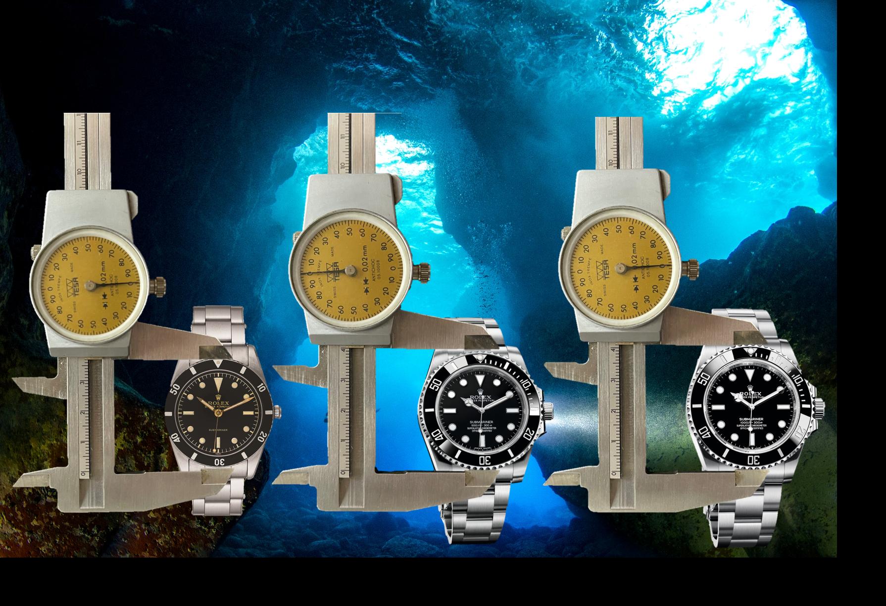 Rolex Oyster Perpetual Submariner, Referenzen 6200, 114060 und 124060 mit leichtem Wachstum des Gehäuse Durchmesser