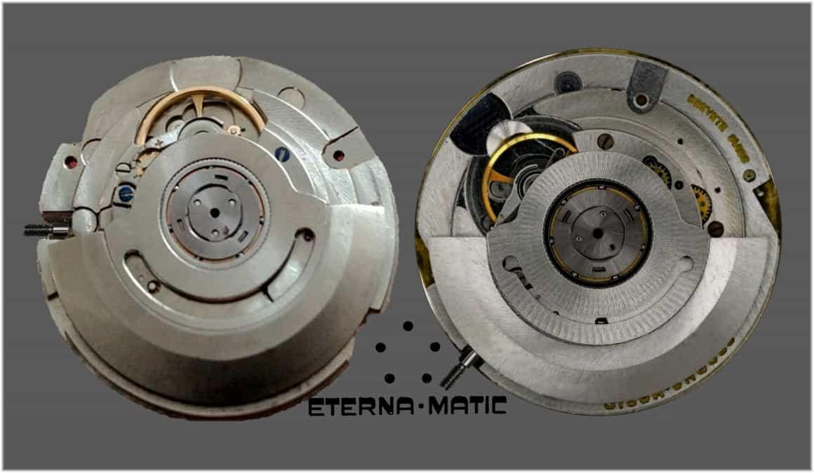 Im Gegensatz zum Automatikkaliber Eterna 1466U oszilliert das Eterna Kaliber 1504 nicht mit 2,5 sondern drei Hertz und besitzt eine kleinere Glucydur-Ringunruh