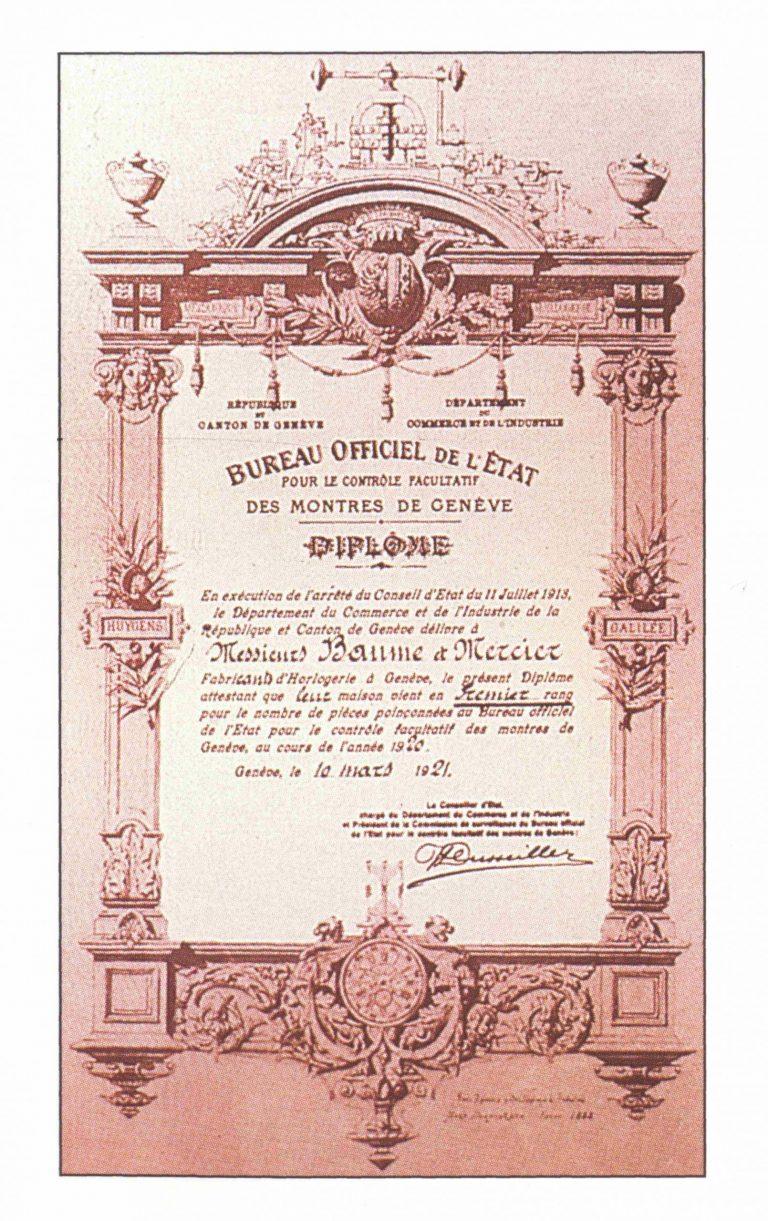 Genfer Siegel Zertifikat aus dem Jahr 1921 für eine Baume-Mercier Uhr