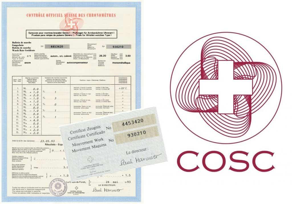 COSC Großes und Kleines Chronometerzertifikat