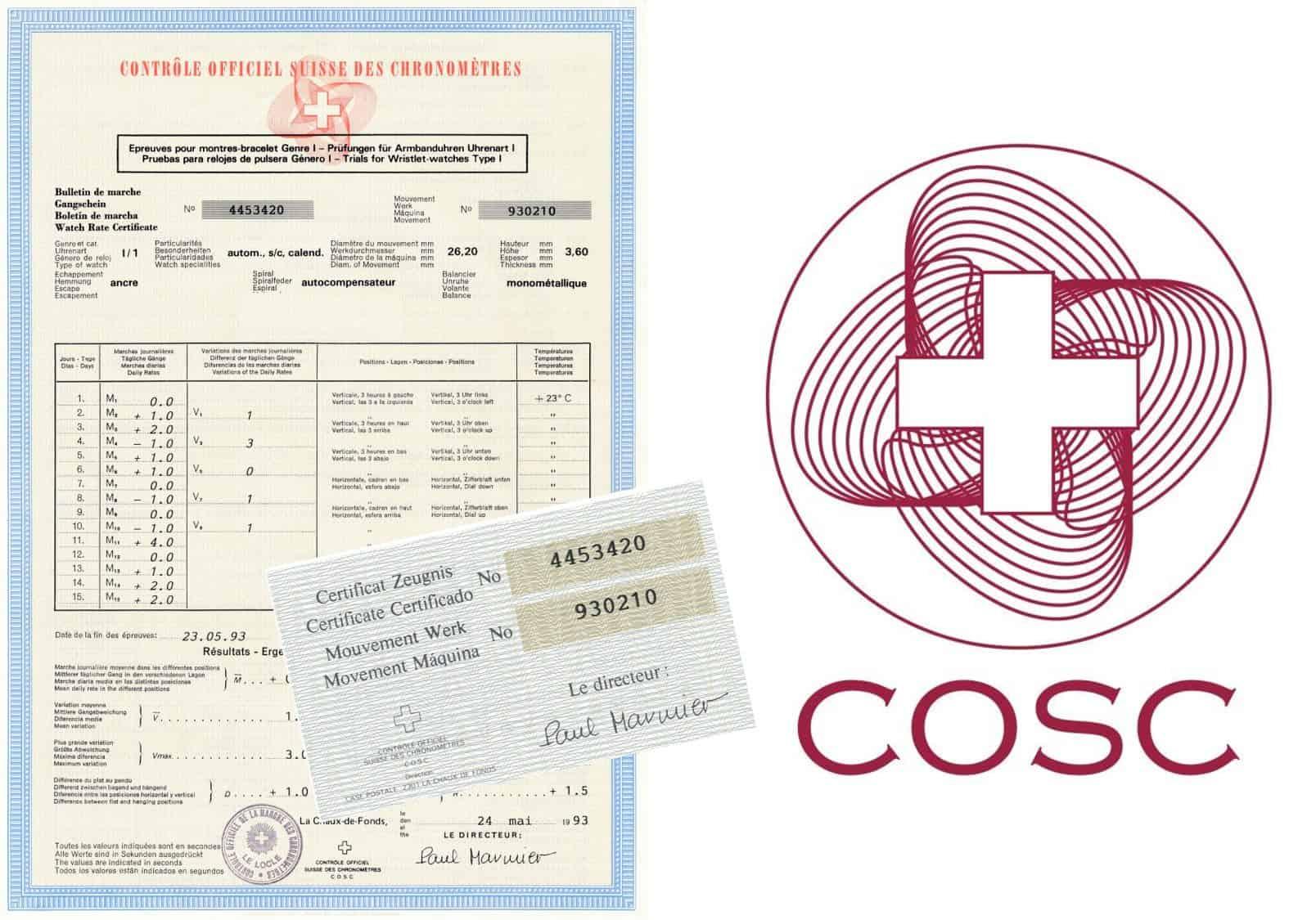 COSC Chronometer ZertifizierungCOSC und die Vorgaben für einen amtlich zertifizierten Chronometer