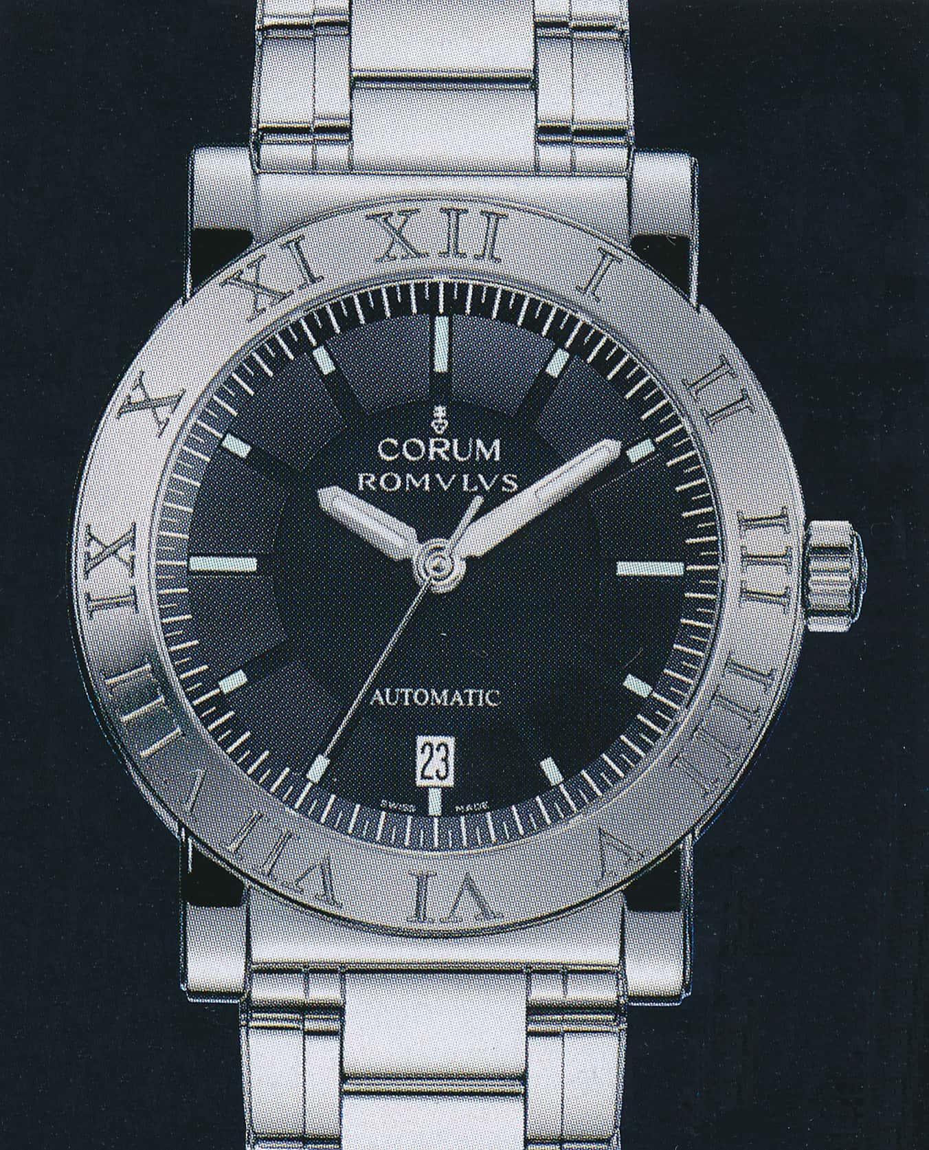 Corum Romulus, Ref. 82701.20, mit  Stahlgehäuse und -band sowie Eta 2892-A2 Kaliber kostete im Jahr 2003 offizielle 2.320 Euro