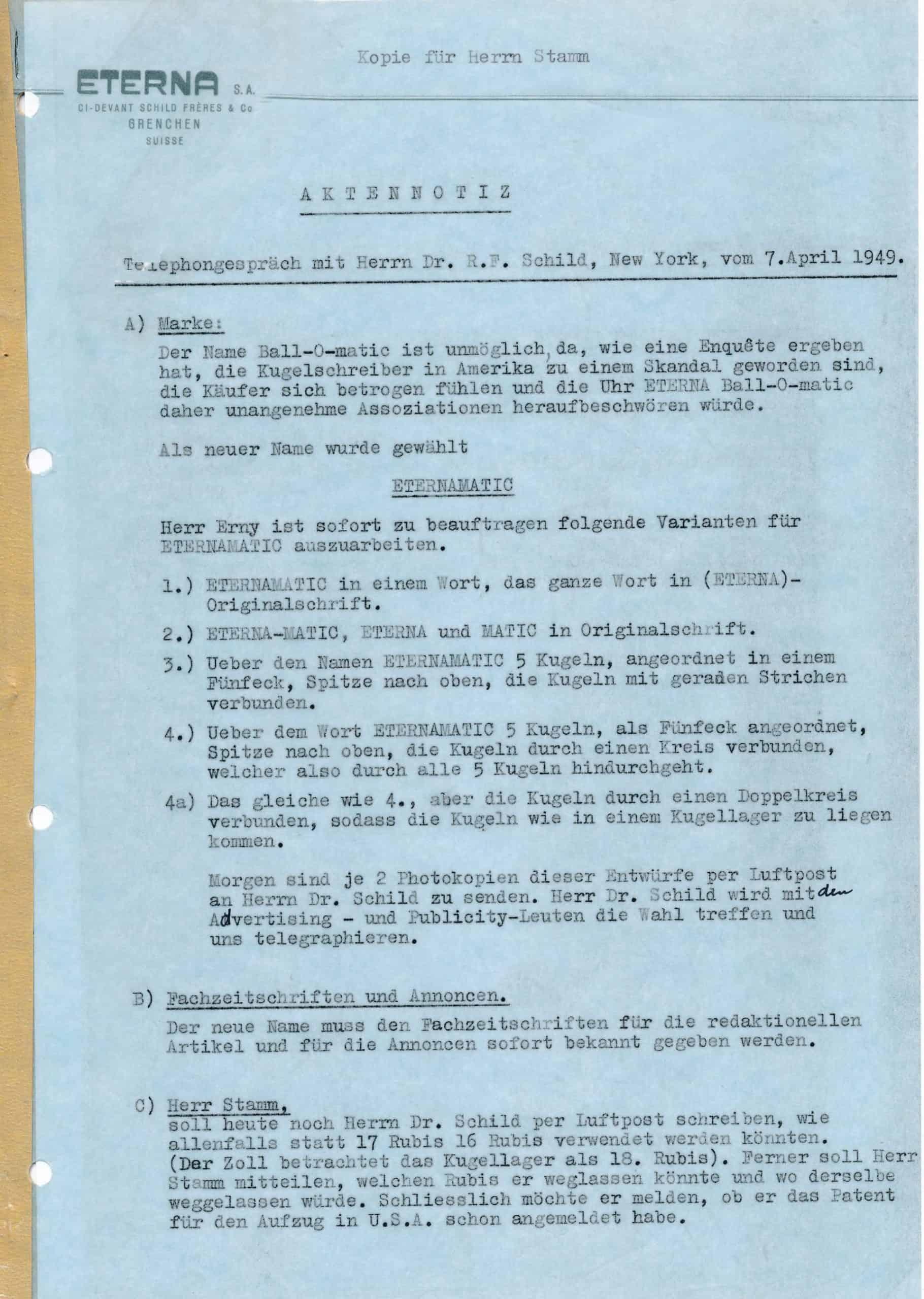 Brief von Dr. Schild zur Namensfindung Eterna-Matic von 1949