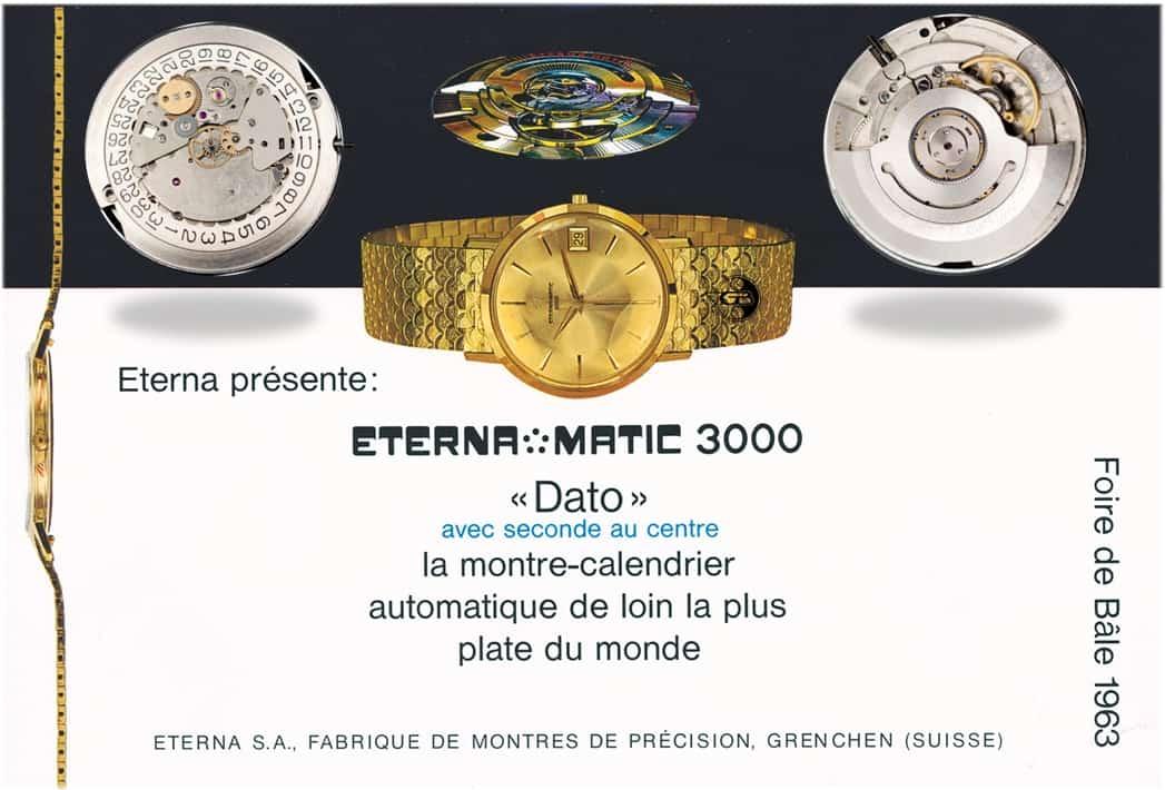 Die Eterna-Matic 3000 Dato mit dem 3,6 mm flachen Automatikkaliber 1466U debütierte im Jahr 1963 zur Basler Mustermesse: