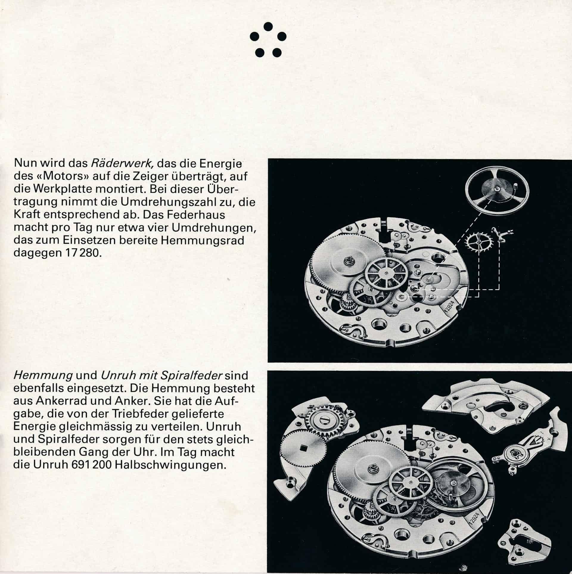 Die vorbildliche Erklärung des Aufbaus einer mechanischen Uhr