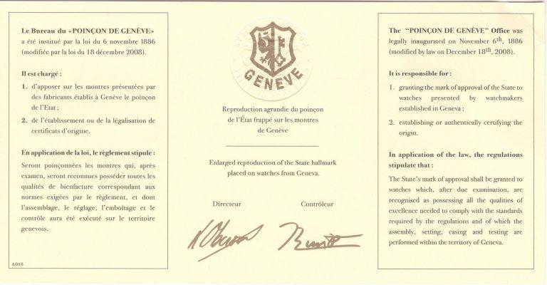 Genfer Siegel Zertifikat