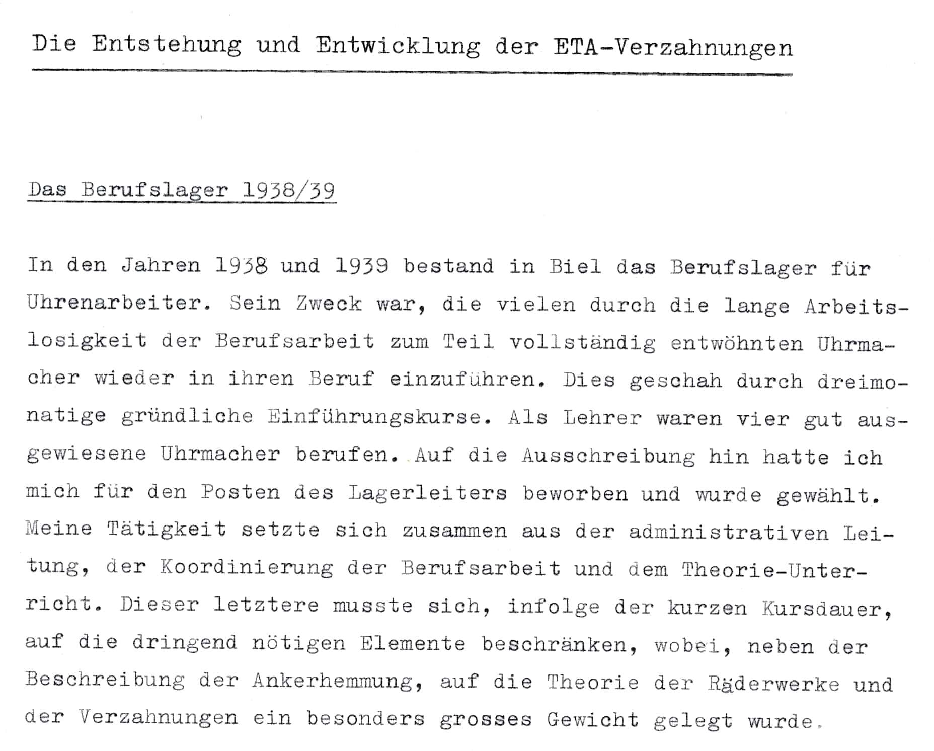 Heinrich Stamm zum Schweizer Berufslager 1938/1939