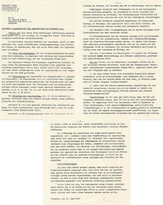 Der Brief von Heinrich Stamm an Dr. Rudolf Schild-Comtesse aus dem Jahr 1945 zeigt den klaren Widerspruch des Mitarbeiters