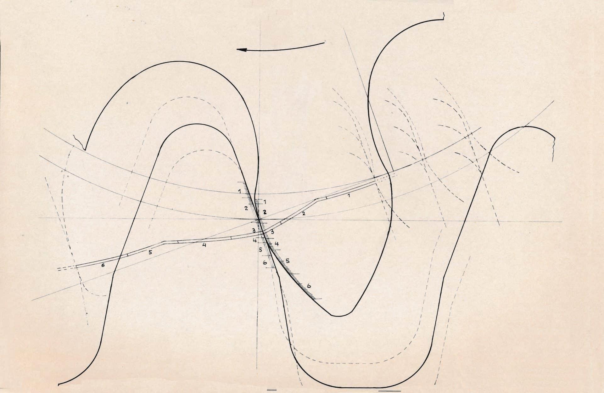 Die von Heinrich Stamm angestellte Berechnung und Zeichnung der Eta-Verzahnung
