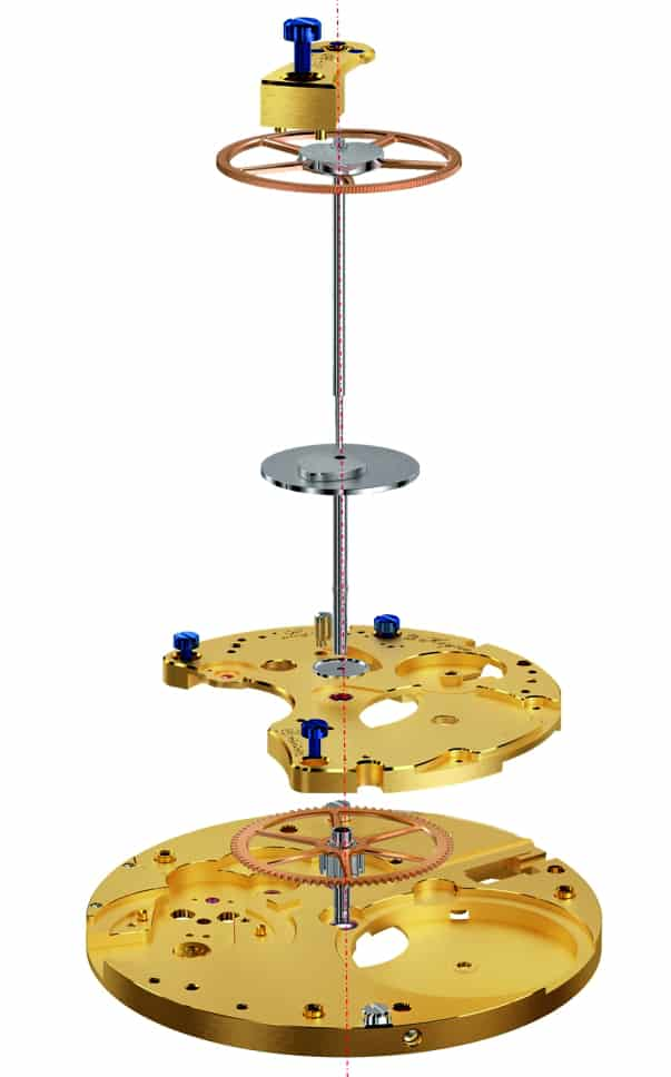Albert Chronograph Caliber IV Chrono-Zentrumsrad mit Zeigerwelle und zentrale Minutenzählscheibe mit Zeigerrohr