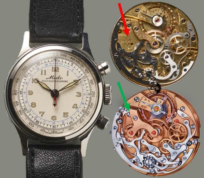 Mido Muliticenterchrono Gesicht und Kaliber 1300 und Valjoux VZ -  Bild Uhrenkosmos