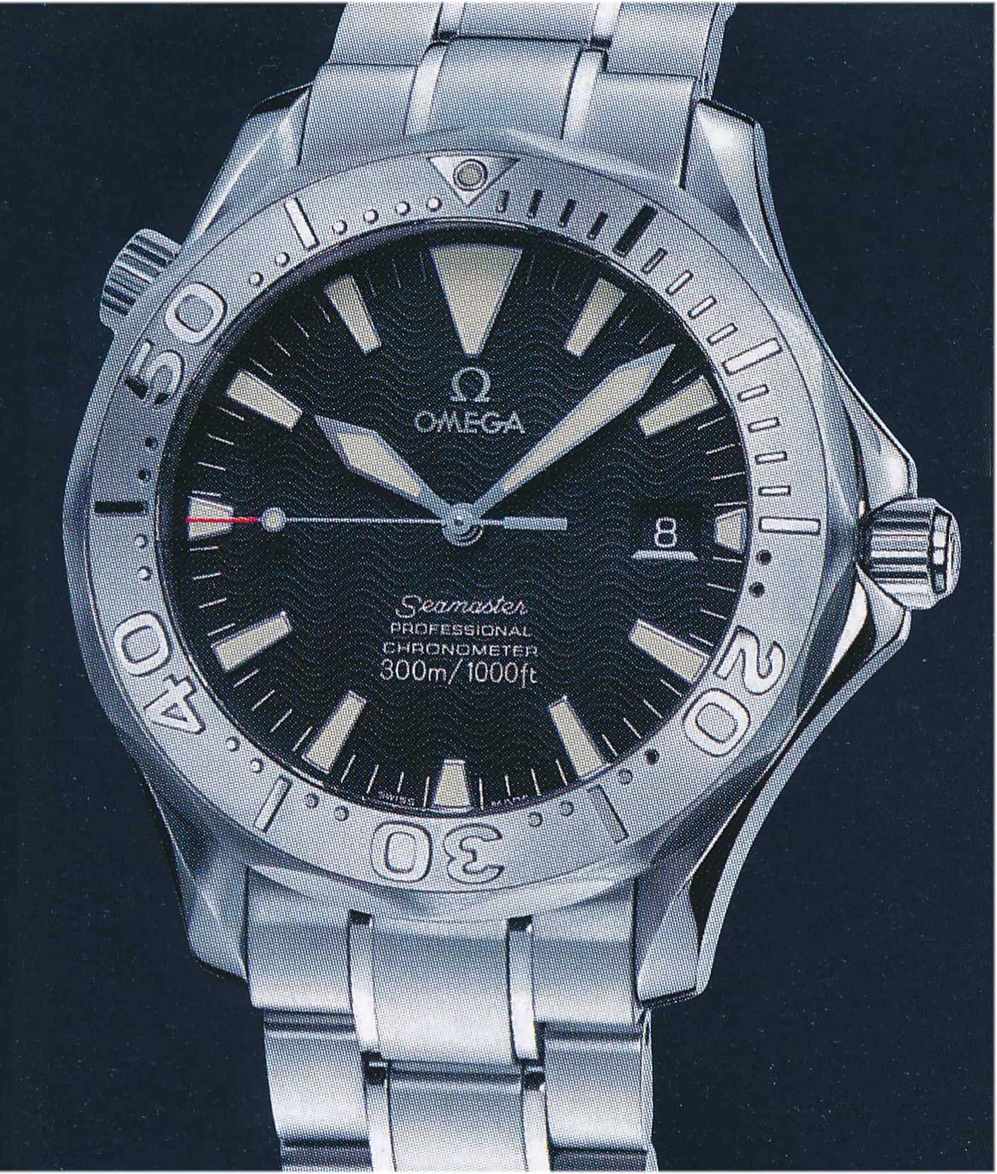 Für 2.480 Euro gab es bei der Omega Seamaster Diver 2003 ebenfalls das als Automatikkaliber 1120 bezeichnete Eta 2892-A2