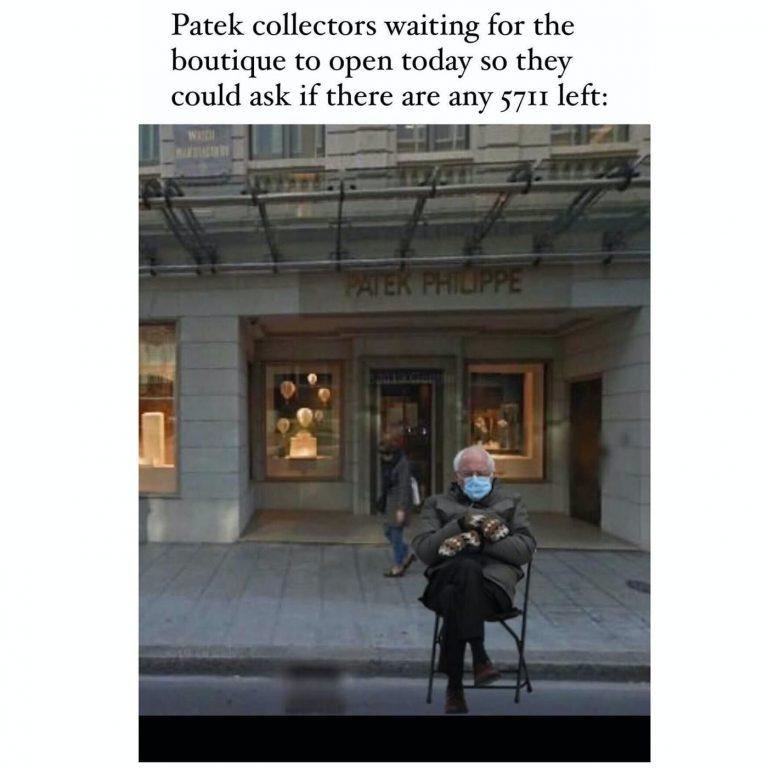 Photomontage Bernie Sanders vor Patek Philippe Store
