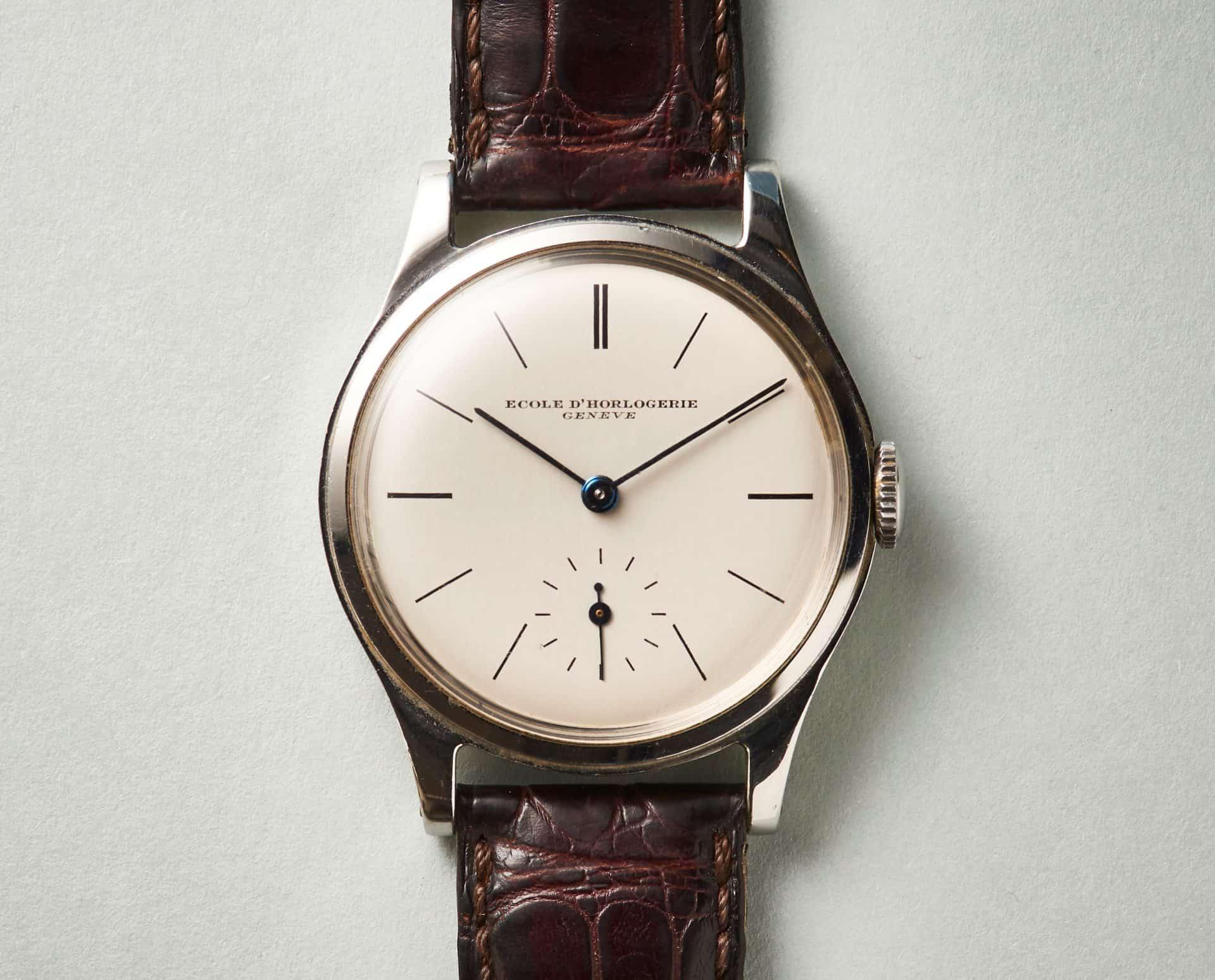 Schuluhr Ecole d'horlogerie de GenèveSchuluhr – aber mit Patek Philippe Rohwerk