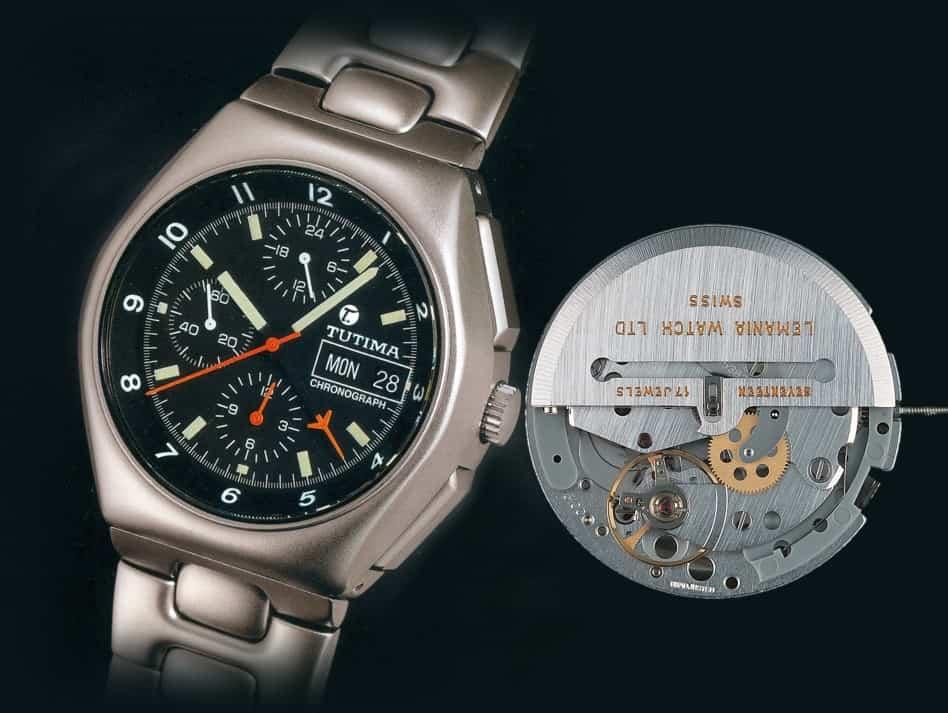 Tutima Military Chronograph tickt das Automatikkaliber Lemania 5100 mit zentralem Minutenzähler
