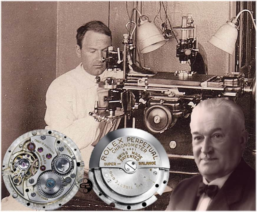 Emil Borer (links) und Hans Wilsdorf mit der entwickelten Rolex Perpetual